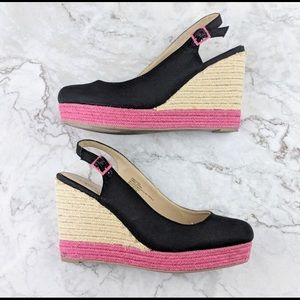 CATO 9 Black & Pink Wedge Sandals